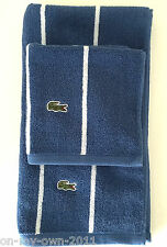 Lacoste Bath Towel Set 2 Piece Ocean - Blue & White Stripes Hand & Wash Cloth