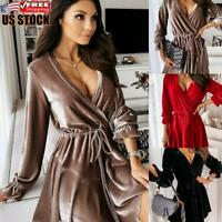 Sexy Women's V Neck Velvet Bodycon Dress Evening Party Ball Gown Mini Dresses
