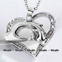 Silver Mother & Daughter Heart Necklace Love Gifts For Her Women Mum Aunt Child