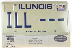 Vintage Illinois 1984 Sample Old License Plate Collector Man Cave Pub Gift