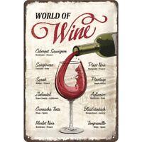 Blechschild 22265 - World Of Wine - 20 X 30 cm - Neu