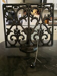 Cast Iron Cookbook Book, Recipe, Tablet Adjustable Stand Holder Weights & Stand