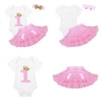 3Pcs Baby Girl Toddler 1st Birthday Romper Tutu Skirt+Headband Set Princess Suit