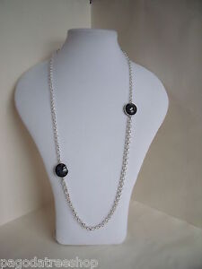 New Statement Belcher Chain Necklace with Agate Stones in Silver or Gold Tone