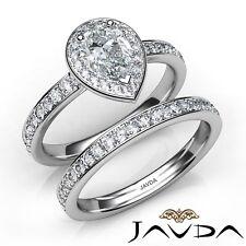 1.75ctw Pavé Sidestone Halo Novia Pera Anillo de Compromiso Diamante GIA F-SI1
