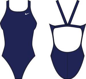 Nike NESSA001 440 Blu Racerback Costume da Bagno Intero Donna
