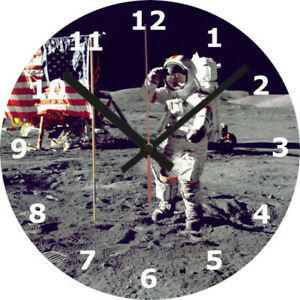 WALL CLOCK SPACE 25cm Moon Landing Astronaut Universe Stars Home Decor 1080