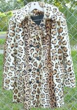 Vintage Faux LEOPARD Cheetah Print Fur double breasted Jacket Coat