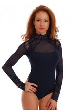 Women Black Bodysuit Long Sleeve Turtleneck Top Blouse Lace Body Suit Lingerie