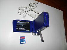 Insignia NS-DV720P Blue Digital Camcorder; USB Charger & 4 GB Micro SD Card VGC