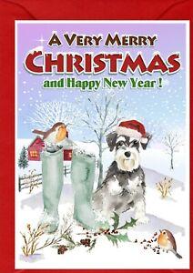 "Miniature Schnauzer Dog A6 (4"" x 6"") Christmas Card - Blank inside -by Starprint"