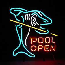 "New Pool Shark Billiards Game Room Open Neon Light Sign 20""x16"""