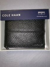 $78 NIB COLE HAAN BLACK Pebble Leather SLIM Billfold Wallet Designer CHDM21009L
