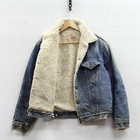Vintage Levi's Denim Jean Trucker Jacket Size 42 Light Wash Sherpa Lined