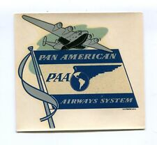 Vintage Airline Luggage Decal PAN AM PAA Pan American Airways flag blue
