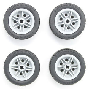 Lego 4x Genuine Technic Large Grey Wheels 43.2x22ZR 43.2x22mm Black Tyres - NEW