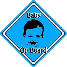 Baby/Child On Board Car Sign ~ Baby Face Silhouette ~ Neon Blue
