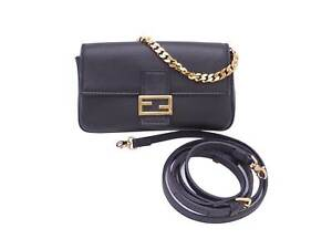 Auth FENDI Micro Baguette Shoulder Bag Black Leather/Goldtone - e46149b