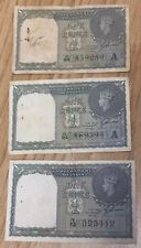 1940 1 Rupee Government Of India King George Banknotes. 3 Notes