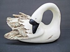 Country Cottage Wood Look White Resin Swan Goose Decoy Statue Figurine  7117