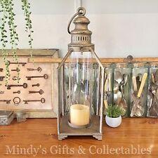53cm High Rustic Antique Gold Metal & Glass Lantern Candle Holder