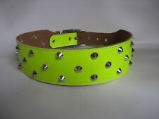 LEATHER YELLOW FLURO STUDDED STAFFY DOG COLLAR