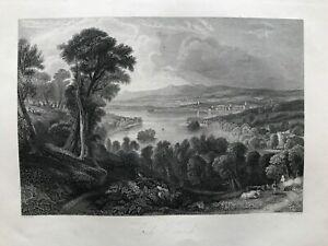 1845 Antique Print; Lochwinnoch, Renfrewshire, Scotland after Fleming