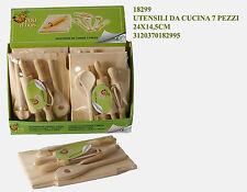 regalo gioco bimba set 7 mestoli utensili da cucina in legno naturale