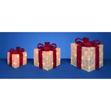 Set x3 LED Lit Parcels / Gifts White/Red Christmas Lights Indoor/Outdoor