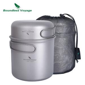 Titanium Pot Pan Set with Folding Handle Outdoor Camping Cooking Hiking Cookware