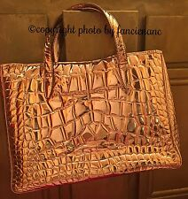 YVES SAINT LAURENT Gold Crocodile Embossed Patent Leather Raspail Tote Bag