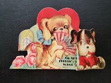 "Vtg Valentine Greeting Card Diecut Stand Pekingese Dog ""I'm Not Peekin"" 1940s"