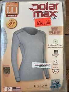 $36 NEW Womens Polarmax Warm Light Weight 1.0 Gray Crew Top Base Layer Shirt USA
