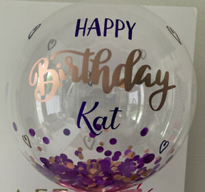 """Personalised Balloon Bubble Bobo Message 20"""" Clear,  Vinyl Feathers Kit Set Orb"""