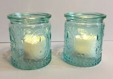 2 AQUA BLUE Tea Light Votive Candle Holders and LED Lights Wedding Nighlight