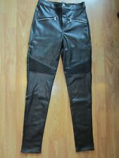 WOMENS H&M BLACK FAUX LEATHER STRETCH FITTED SKINNY PANTS SIZE 6 US/36 EUR NWT