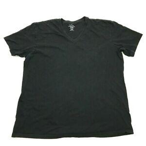 Calvin Klein V-Neck Shirt Men Size Extra Large Black Tee Short Sleeve Monochrome