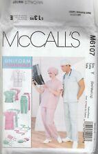 McCall's Sewing Pattern M6107 Adult Scrub Top Dress Pants Hat Lab Coat Sz SML