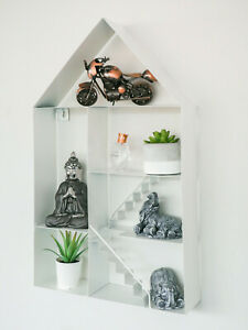 Large White Metal House Shaped Floating Wall Shelf Storage Display Unit Unique