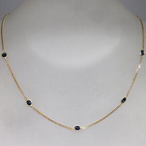 Zierliches Collier mit ca. 0,75ct Saphir in 585/14K Gelbgold