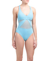 Bleu Rod Beattie One Piece SwimSuit NWT $125 Aqua Blue Mesh Strappy Back Size 4