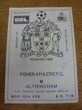 15/02/1988 Fisher Athletic v Altrincham [FA Trophy Replay] (Creased At Top). Ite