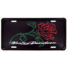 "New Harley Davidson ""Rose"" Metal License Plate"