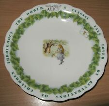 The MacMillan Alice In Wonderland Plate Maebata Japan Green White & Alice