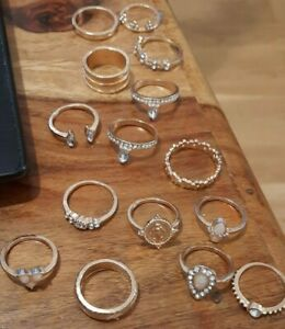 Ethnic Jewellery Handmade Antique Designed 15 Rings Gold Tone  Lot Mixed Size