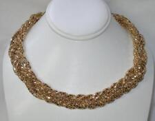 Express Lightweight Braided Golden Metallic Gold Mesh Necklace Great for Parties