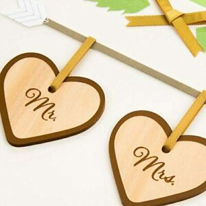 Papyrus Wedding Card:  Mr & Mrs Wood Wooden Plaques on Silver Arrow