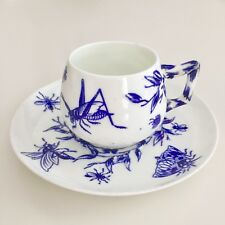 Brown-Westhead & Moore demitasse cup, Aesthetic Movement insects, flow blue and