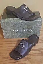 Relativity BRIDGETTE Brown Leather Slip On Open Toe Clogs Mules Shoes Sz 8 B
