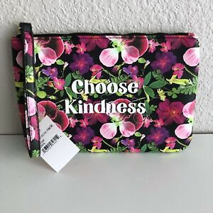 Betsey Johnson Choose Kindness Pouch Toiletries Travel Pink Floral Colorful Pop